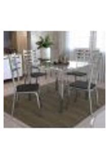 Conjunto Mesa Quadrada Vidro E 4 Cadeiras Alemanha Kappesberg - Cromado/Preto