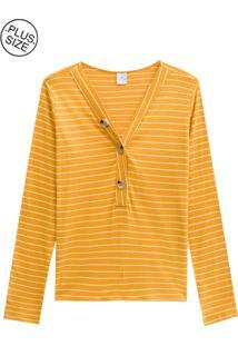 Blusa Lecimar Plus Em Punho Listrado Outono Inverno Amarelo Escuro - Tricae