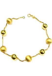 Pulseira Veneziana Bola De Ouro Fosca Lisa - Feminino-Dourado