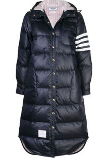 Thom Browne Navy Goose Down Long Puffer Jacket - Azul