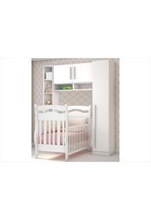 Quarto De Bebê Completo Bia Com Guarda-Roupa De 1 Porta Ponte Nicho E Berço Bambini Mpflex Branco
