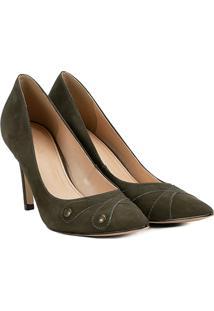 Scarpin Couro Shoestock Salto Alto Botões - Feminino-Musgo