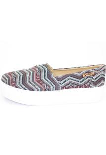 Tênis Flatform Quality Shoes Feminino 003 Étnico Azul 35