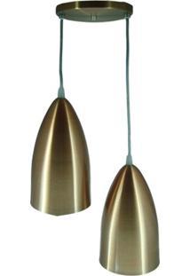 Pendente Em Alumínio Para 2 Lâmpadas Cobreado
