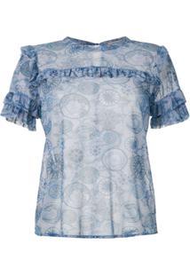 Fillity Blusa Transparente Com Babados Estampada - Azul