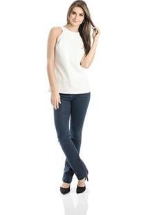 Blusa Decote Costas Calvin Klein - Feminino-Off White