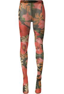 Richard Quinn Meia-Calça Preta Com Estampa Floral - Preto
