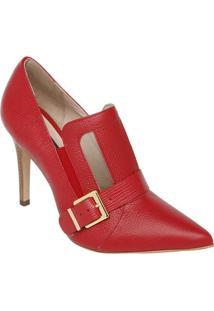 Ankle Boot Em Couro Com Tule - Vermelho - Salto: 10Cjorge Bischoff
