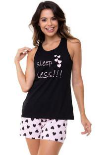Pijama Short Doll Regata Corações Feminino Em Algodão Luna Cuore