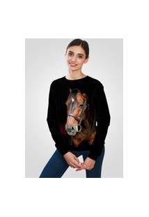 Blusa Moletom Ramavi Flanelado Cavalo Com Bolso