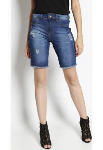 Bermuda Jeans Com Puídos - Azul Marinho & Vermelhavide Bula