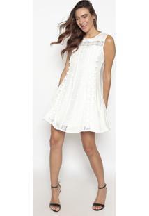 Vestido Com Renda - Off White- Suzan Zhengsusan Zheng