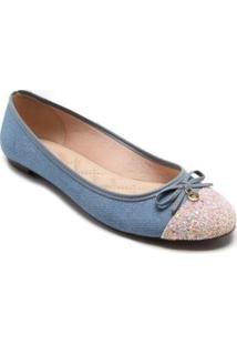 Sapatilha Moleca Tecido Glitter Laço Feminina - Feminino-Azul