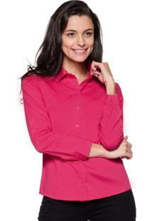 Camisa Intens Manga Longa Tricoline Lisa Rosa