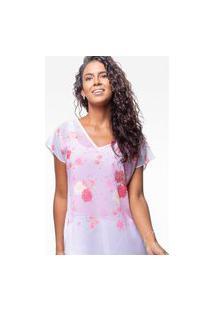 Blusa 101 Resort Wear Saida De Praia Estampada Crepe Lenço Flor Rosa