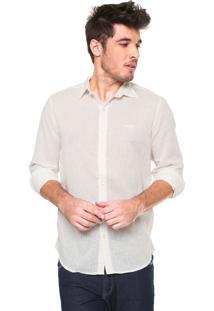 Camisa Linho Von Dutch Regular Fit Básica Off-White
