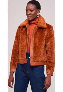 Jaqueta Amaro Fur Detalhe Leather Capuccino - Marrom - Feminino - Dafiti