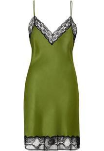 Burberry Vestido De Seda E Cetim Com Detalhe De Renda - Verde