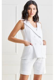 Colete Mx Fashion De Linho Manuela Off White - Off-White - Feminino - Linho - Dafiti
