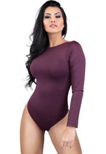 Body Feminino Collant Manga Longa Costa Nua Decote Blusa Mvb Modas - Feminino-Vinho