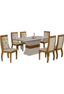 Sala De Jantar Ágata 1.80M Com 6 Cadeiras Imbuia/Off White Veludo Creme