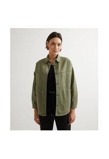 Jaqueta Camisa Com Bolsos Frontais Destacados | Marfinno | Verde Escuro | Gg