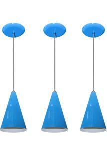 Kit 03 Pendentes De Alumínio Modelo Cone Ideal Para Balcão / Bancada Azul