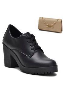 Kit Sapato Oxford Feminino + Bolsa Clutch Bege