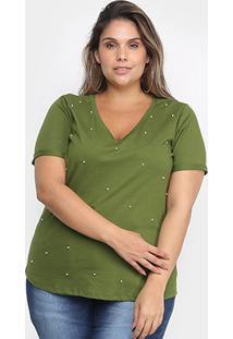Blusa Cativa Mais Com Apliação Plus Size Feminina - Feminino-Verde