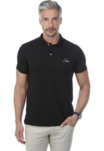 Camisa Polo Javali Mullet Bordado Preta