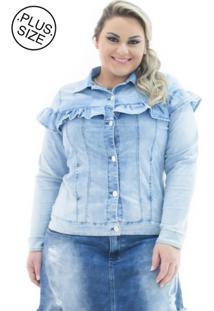 Jaqueta Plus Size - Confidencial Extra Jeans Com Babado Plus Size Azul