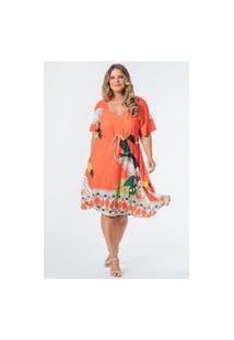 Vestido Almaria Plus Size Munny Midi Estampado Coral