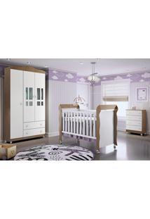 Dormitório Guar. Roupa Ariel 3Pts / Cômoda Ariel 4Gav E Berço Mirelle Amadeirado Marrom/Branco