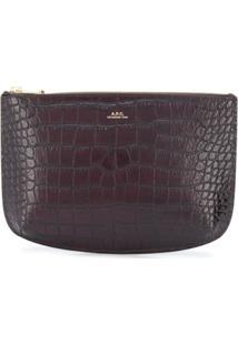 A.P.C. Bolsa Clutch Com Textura Crocodilo - Vermelho