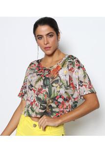 Blusa Cropped Ampla- Bege & Verdedimy