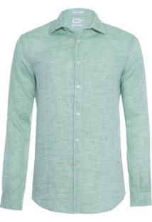 Camisa Masculina Linho Lisa - Verde