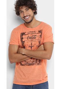 Camiseta Coca-Cola Linho Botonê Estampada Masculina - Masculino-Laranja