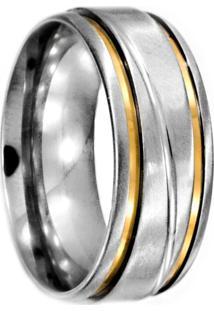 Aliança Prata Mil De Aço C/ Filete De Ouro (Unidade) Aço