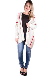 Kimono Banna Hanna Trico Com Listras Off White M