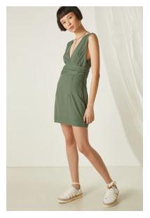 Vestido Decote Quadrado Verde Oliveira - 36