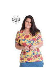 Blusa Feminina Plus Size Estampada 12520 Amarelo