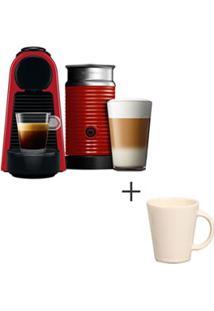 Cafeteira Nespresso Essenza Vermelho - A3Nrd30B - 220V + Canecas Basic Ceramica Com 04 Pecas Bege - Porto Brasil