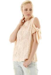 Blusa Estampada Ombro Vazado Com Nó Na Manga Aha Feminina - Feminino