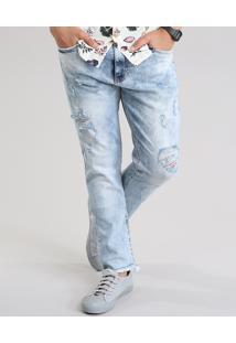 Calça Jeans Carrot Destroyed Com Algodão + Sustentável Azul Claro