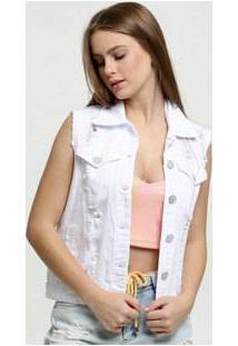 Colete Feminino Destroyed Botões Uber Jeans
