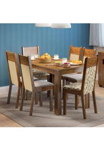 Conjunto De Mesa Com 6 Cadeiras Honduras Suede Rustic E Florata