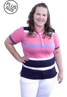 Camisa Pólo Hifen Listrada Plus Size Rosa