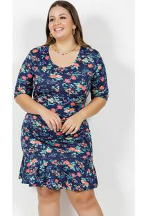 Vestido Curto Floral Marinho Babado Plus Size