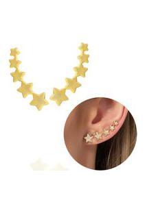 Brinco Ear Cuff Estrelas Textura Dourado