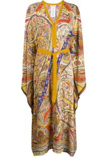 Etro Vestido Com Estampa Paisley E Cinto - Amarelo